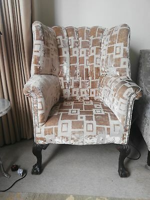 Georgian barrel back armchair with claw feet.