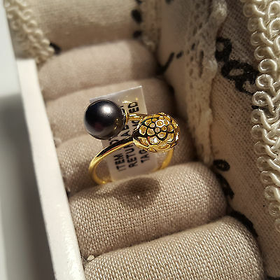 Beautiful Peacock  Pearl & Cr Diamond Ring in 14k gold over Sterling Silver