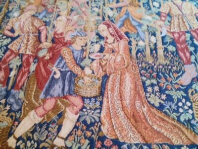 Vintage French tapestry picture cushion medieval lady Arts & Crafts style vgc