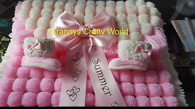Pompom Blanket Set  - Pink & Cream with Personalised Satin Bow & Boots