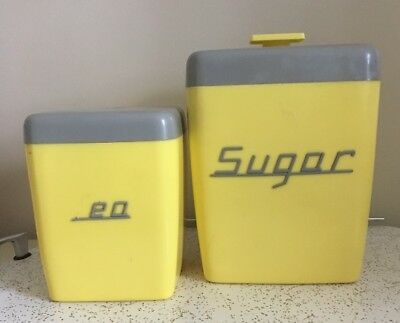 Vintage NALLY WARE Canisters~Yellow/Gray Colours~50's/60's Retro Kitchen!
