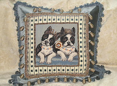 "Fun Boston Terrier Vintage Needlepoint On Scalamandre ""pitti"" Velvet  Pillow"