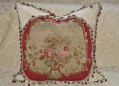 Elegant 19Th Century Authentic French Aubusson Tapestry Pillow ~ Floral