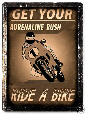 MOTORCYCLE METAL SIGN motor bike vintage style mancave funny cool wall art 116