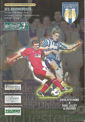 Football Programme - Colchester United v Bournemouth - League Cup - 1998
