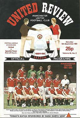 Manchester United v Ipswich Town - Div 1 - 5/9/1981 - Football Programme