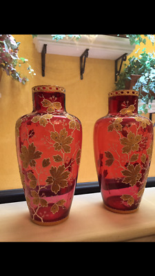 Moser Glass Ruby Red Cranberry  Coralene Flowers pair enameled vases