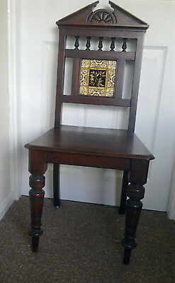 A Pair Of Victorian Tile-Back Bedroom/ Halls Chair One In Need Of Some Tlc