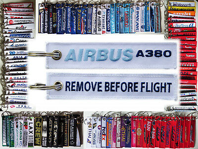 Keyring AIRBUS A380 Remove Before Flight baggage tag keychain for Pilot - WHITE