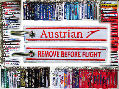 Keyring AUA AUSTRAIN AIRLINES Remove Before Flight baggage tag keychain Pilot