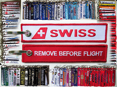 Keyring SWISS INTERNATIONAL AIRLINES Remove Before Flight tag keychain Pilot