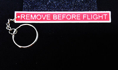 Keyring REMOVE BEFORE FLIGHT RED tag PVC for Crew Pilot