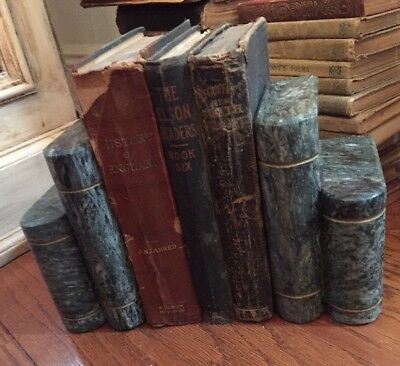 "Pair Of Heavy Granite ? Bookends Vintage Green 6"" Height Shaped Like Books"