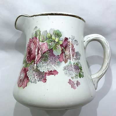 ANTIQUE Large Water Milk Pitcher Vase Roses Hydrangeas Shabby Farmhouse - Marked
