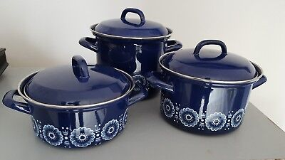 Vintage Retro Blue Enamel Cooking Pot Saucepan white Flower Design x3