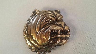 Vintage British Bulldog Belt Buckle Dragon Designs 1991 SOLID BRASS USA Made
