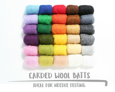 Carded Wool Batts For Needle Felting 5g 10g 20g | Available In 30 Shades