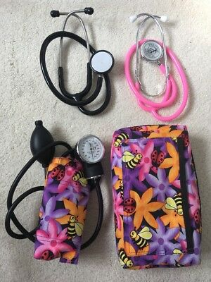Pink / Purple Floral Sphygmomanometer & 2 X Stethoscope In Bag BN Nurse Midwife