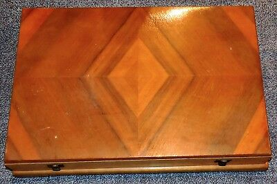 Vintage Art Deco 1930s Lined Timber Satinwood Maple Figured Wood Cutlery Canteen