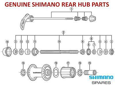 GENUINE SHIMANO CASSETTE REAR HUB FREEHUB,CONE,AXLE,SEAL,SKEWER for 8/9/10 SPEED