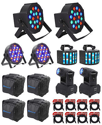 (2) Moving Head+(2) RGB Wash Lights+(2) RGBWY DMX Par Cans+(2) Derby+Bags+Cables
