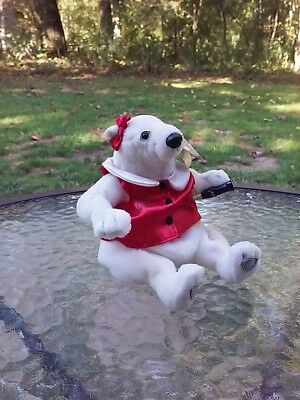 Coca Cola Coke Bean Bag Beanie Plush Bear & Bottle 2000 Red Satin Bow Vest W Tag