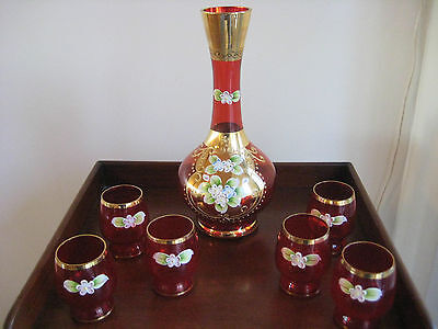 Bohemian Style Gilded Decanter And Six Glasses With Applied Floral Design