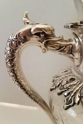 Antique Durgin Hawkes Dolphin Syrup Pitcher, Sterling Silver, Etched Glass