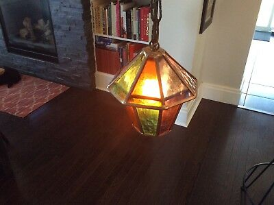 Mid Century Modern Danish Vintage Textured Stained Glass Pendant Lamp
