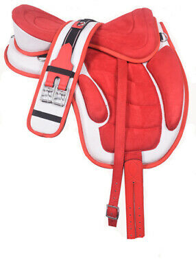 """All Purpose Synthetic Treeless Freemax Saddle Red/White """"16"""" 17"""" 18"""" 19""""  Size"""