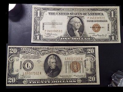 Hawaii 1934A $20 Federal Reserve Note VG Brown Seal + 1$ Bill