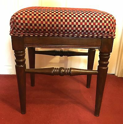 Mahogany Upholstered Stool