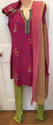 Indian Salwar Kameez Kurta. Cotton. Purple Top Embroidered Sequins. L (UK M)
