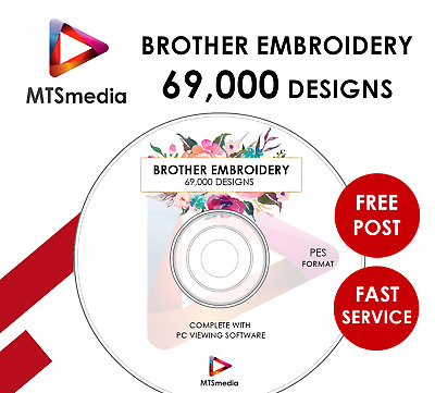 Huge 69,000 Brother Embroidery Design Collection with Preview Software