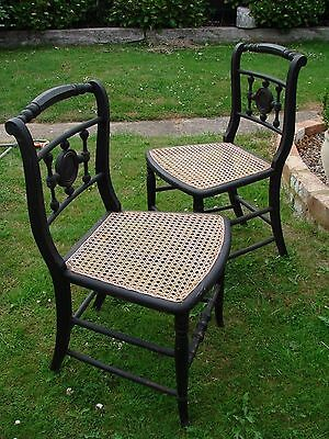 Pair Of Victorian Black Ebony Hardwood Chairs