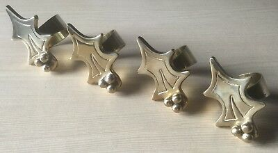 Set Of 4 Vintage Brass Christmas Holly Leaf Napkin Rings