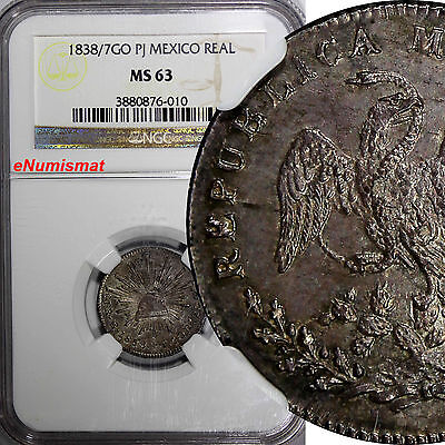 MEXICO FIRST REPUBLIC Silver 1838/7 GO PJ  1 Real NGC MS63 OVERDATE KM# 372.6