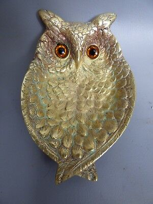 A Nice Brass Owl Dish With Real Glass Eyes.