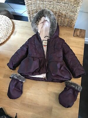 baby girls ted baker 12-18 months Purple Coat - With matching Gloves