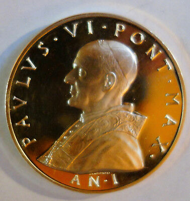 1963 - 1978 papal vatican city Paul VI silver 44mm medal dated 21 vi MCMLXIII pr