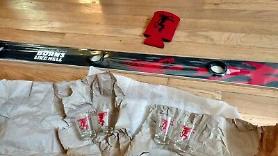Fireball Cinnamon Whiskey Shot Ski + 4 glasses Apres Skiing Bar Barwear Shotski