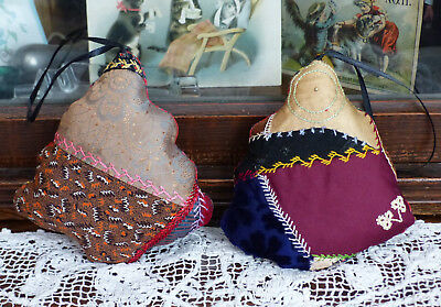 Antique Crazy quilt Trees Christmas Ornaments with organic lavender 2