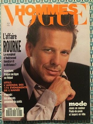 VOGUE HOMMES 126 Fev 1990 Mickey Rourke Mode