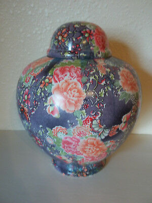 Adult Cremation Urn~~Navy Blue w/Bright Flowers~~Aluminum~~210#~Imperfect