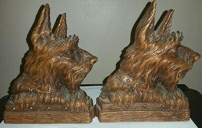 VTG OLD Scotty Terrier Dog Wood Composite Bookends Library Man Cave FLAW