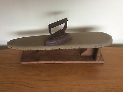 Antique Victorian Small Wooden Tabletop Ironing Board & Cast Flat Iron, Vintage