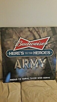 "budweiser ""here's to heroes"" army tin sign....free shipping"