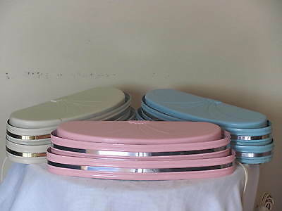 Vintage Art Deco Pink Blue Cream Silver Oval Wall Sconce Light Fixtures Lot of 3