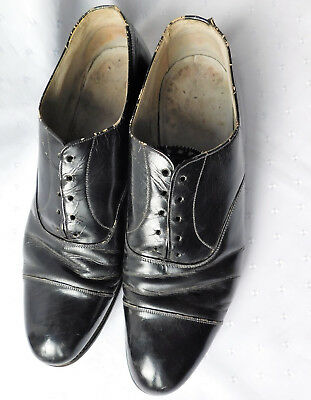 Mens vintage shoes size 7 Brown Muff black leather soled lace-ups 1930s 1940s
