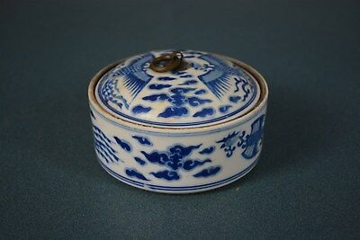 Delicate Chinese Blue And White Porcelain Box Marked Daoguang Rare As6814